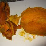 The sweet potato after getting peeled.